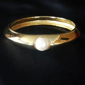 Vintage Givenchy Gold Pearl Bangle